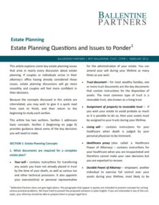 Estate Planning Questions and Issues to Ponder