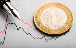 A Turkish lira obscuring an image of a graph showing a downtrend